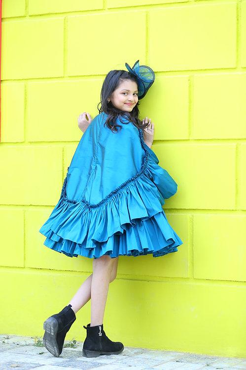 Peacock Blue Cape Dress