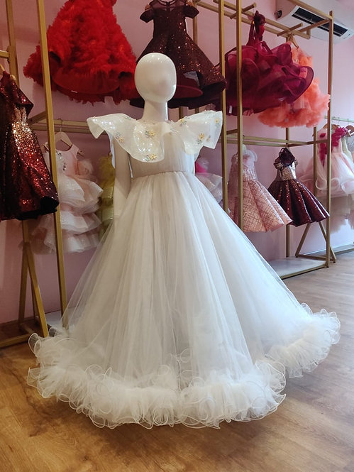 RS-White Cape Gown
