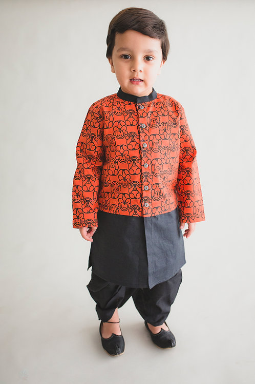 RS-Boy Orange Monkey Print Dhoti Kurta Set