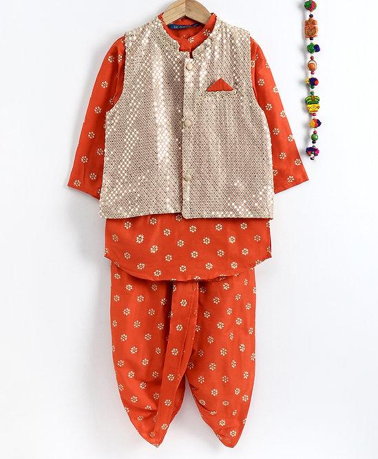 Kurta Dhoti With Jacket Set-Orange