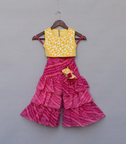 Yellow Embroidery Top with Pink Lehriya Sharara