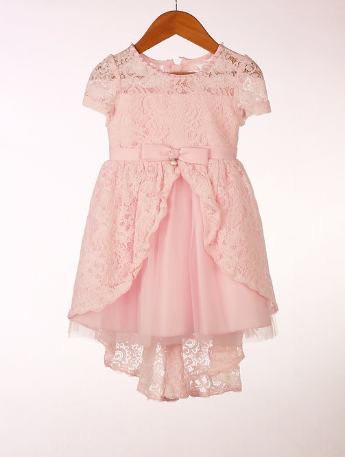 Pink Lace High Low Dress