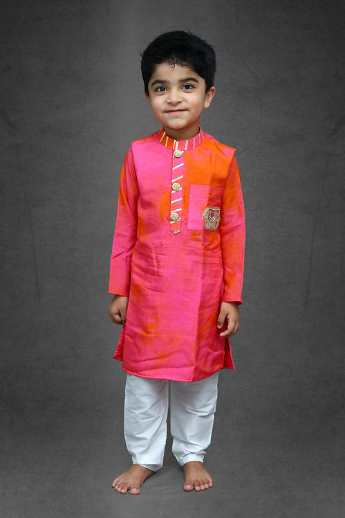Tie and dyed Pinkish Kurta with Chudidar