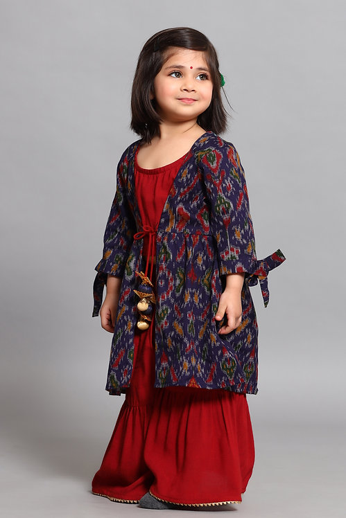 Maroon Top With Sharara With Blue Jacket