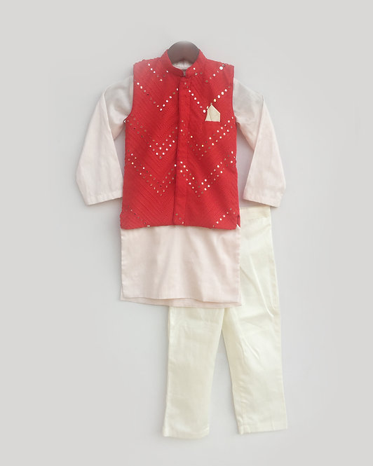 Red Mirror work Jacket with Pink Kurta and Pant
