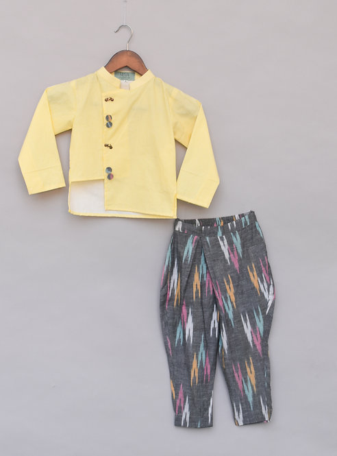 Yellow Stripe Kurta with Pant