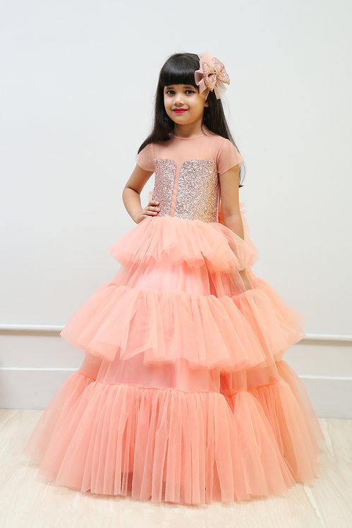 3 Layer frill gown with Sequence yoke and bow