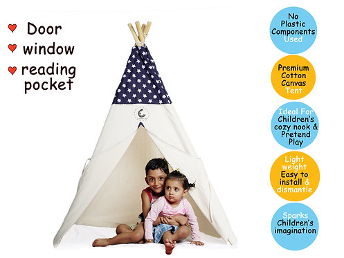 Cotton Canvas Teepee Tent with Wooden Dowels