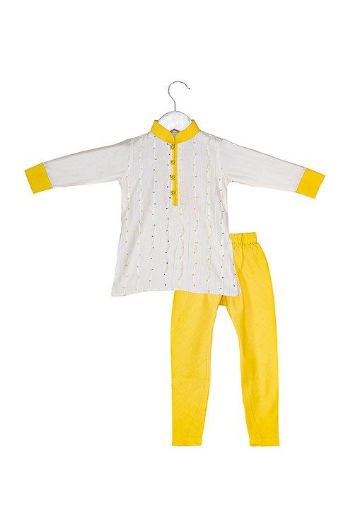 Dot Yellow Pintucked and Embroidered Kurta Churidar