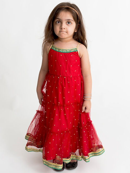 Stylish Tiered Party Gown-Red