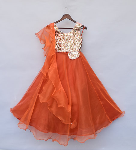 Sequence 3D Flower Choli with Orange Organza Lehenga