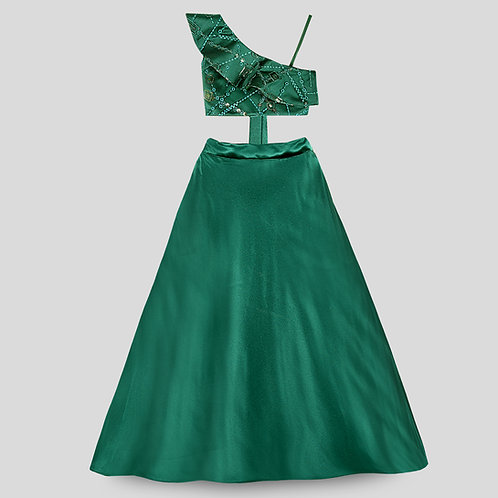 Emerald Green One-Shoulder Embroidered  Blouse & Skirt
