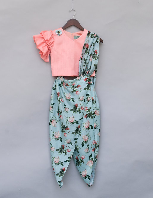Peach Top with Printed Dhoti
