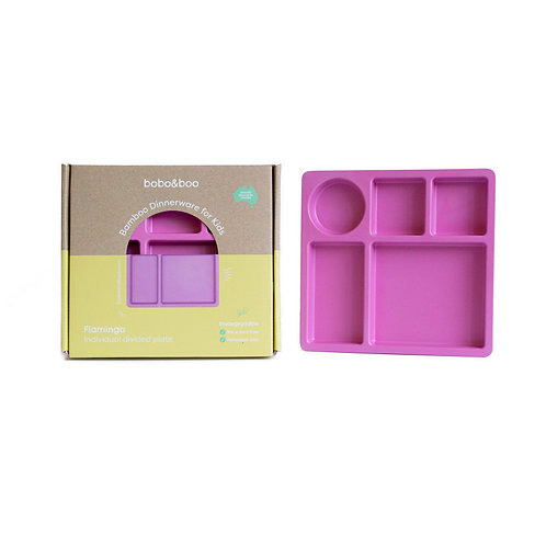 Bamboo Divided Plate For Kids, 5 Portioned Sections - Flamingo Pink