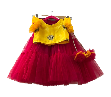 Yellow Hand Embroidered Top With Redfrill Skirt