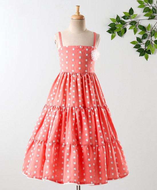 Tiered Print Dress With Net Flower Broach & Pom Pom Lace-Peach