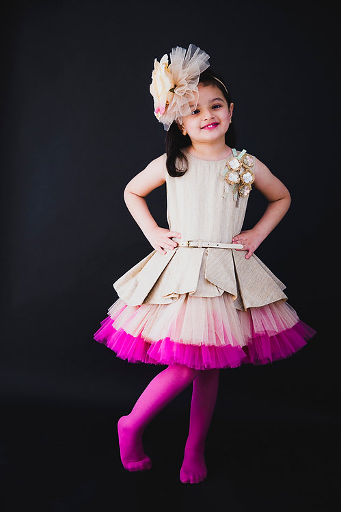 Aurora Pink Golden Peplum Dress
