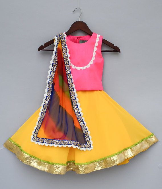 Pink Chol with Yellow Georgette Lehenga
