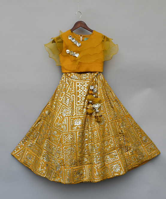 Musterd Yellow Embroidery High Waist Lehenga Choli with Organza Dupatta