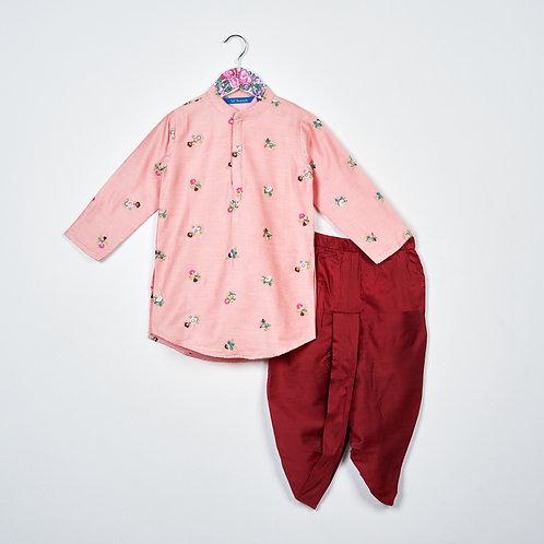 Embroidered Kurta with Dhoti set Pink