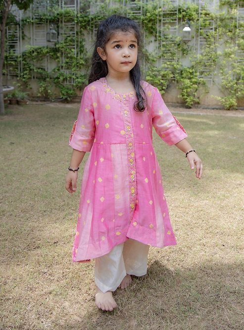 Pink chanderi Bandhani Kurta with Pants
