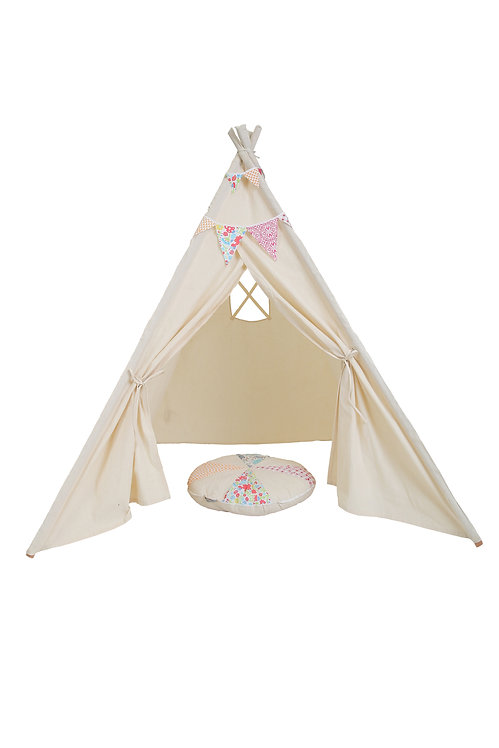 TLF CREAM, PRETEND PLAY TEE PEE WITH MATCHING BUNTING AND CUSHION