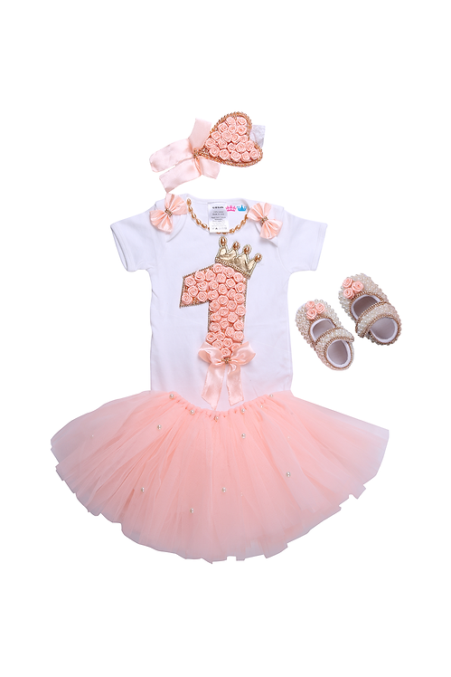 Peach Floral First Birthday Tutu Outfit
