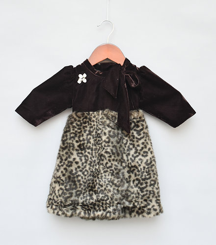 Brown Velvet with Fur Dress