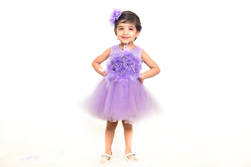 Lilac Feather Short Dress