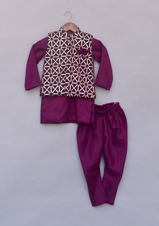 Purple Gota Nehru Jacket with Kurta & Churidar
