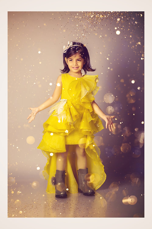 Yellow frill gown