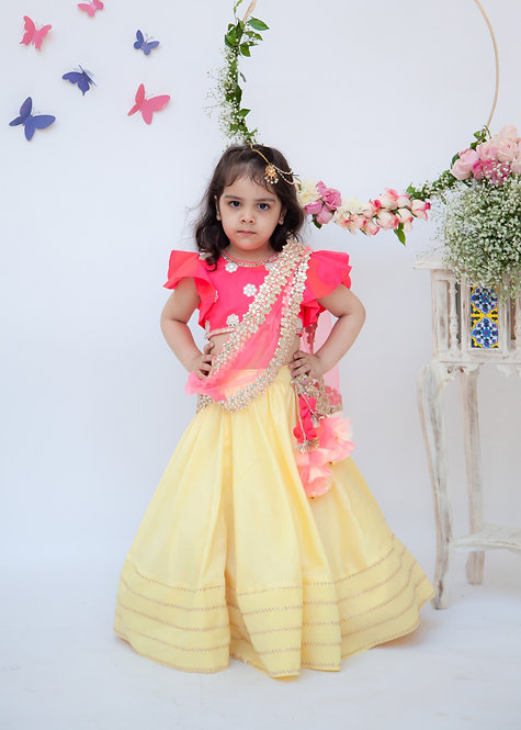 Yellow Lehenga with Pink Choli and Mirror Boti Dupatta