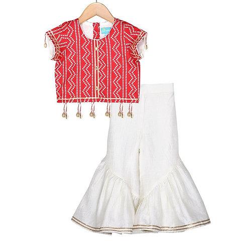 Red Bandhej Sharara Set