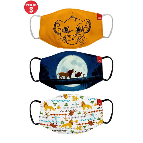 Lion King Printed Protective Kids Masks ( Set Of 3)