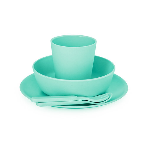 5 Piece Children's Bamboo Dinner Set- Mint Green