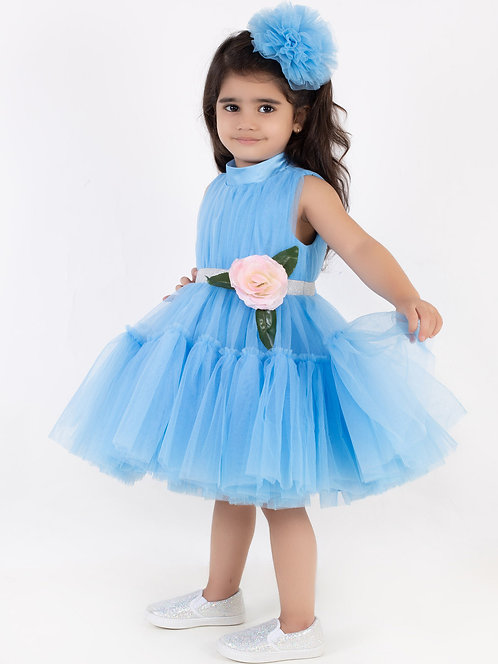 Blue Princess Floral Drees With Hair Accessory