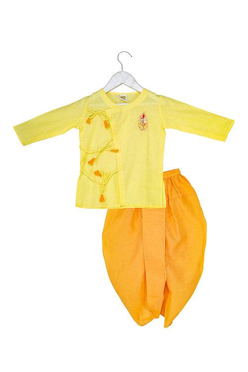 Gota Motif kurta dhoti set Nb Drop Yellow