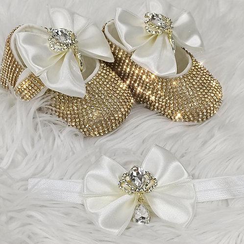 Cinderella Shoes & Headband - White