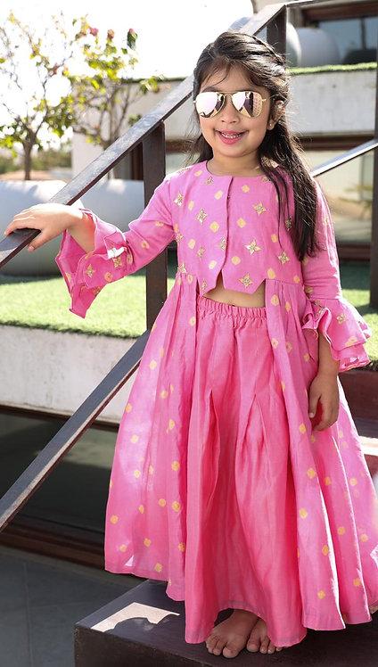 Chanderi Bandhani top with Heart Shaped Gotta