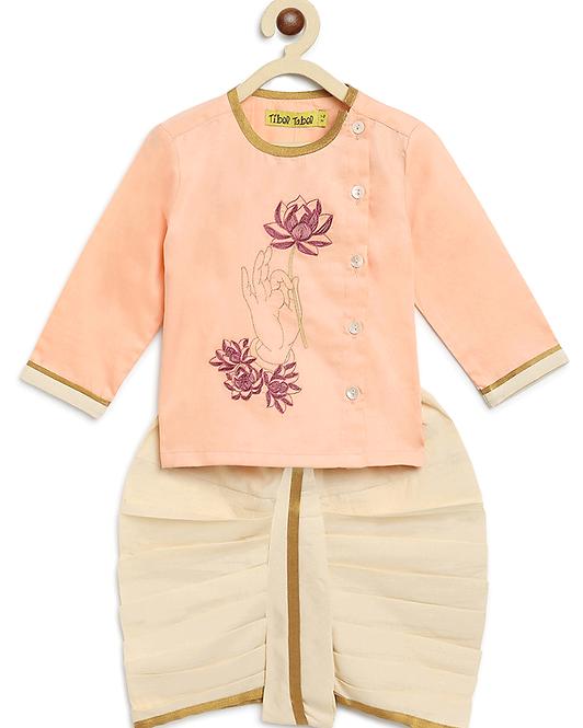 Baby Boy Peach Lotus Hand dhoti kurta set