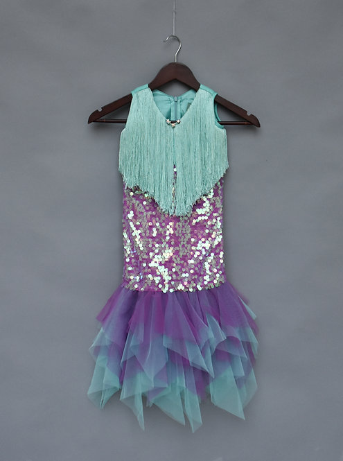 Aqua and Purple Mermaid Dress