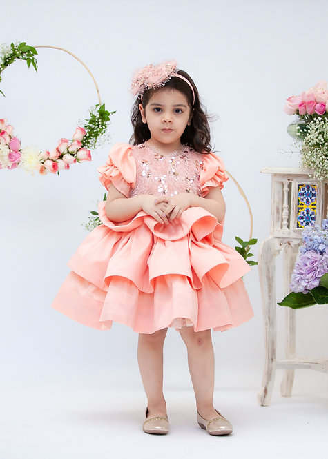 Peach Sequence and Tassel Frock