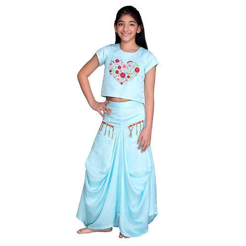 Blue Daisy Dhoti Skirt Set Blue Daisy Dhoti Skirt Set Blue Daisy Dhoti Skirt Se