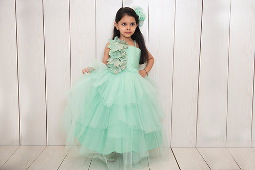 Green Stone Flower Gown