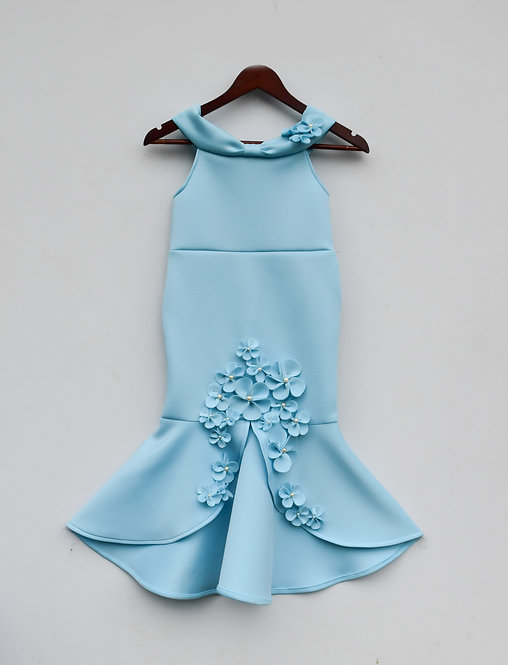 Blue Neoprene Fish Cut Dresss