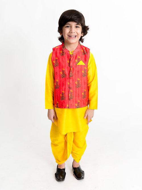 Kurta Dhoti With Jacket Set- Yellow