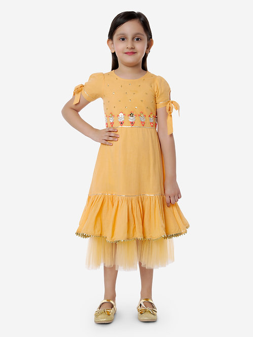 Party Dress With Tikki Handwork &  Embroidery -Yellow