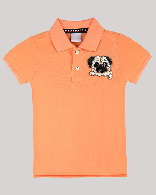 Polo T-Shirt With Pug Face Motif