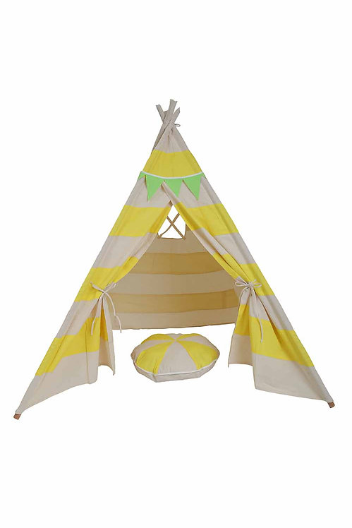 YELLOW STLF TRIPED TEE PEE TENT WITH MATCHING BUNTING