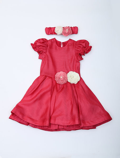 Pink frock with Roses
